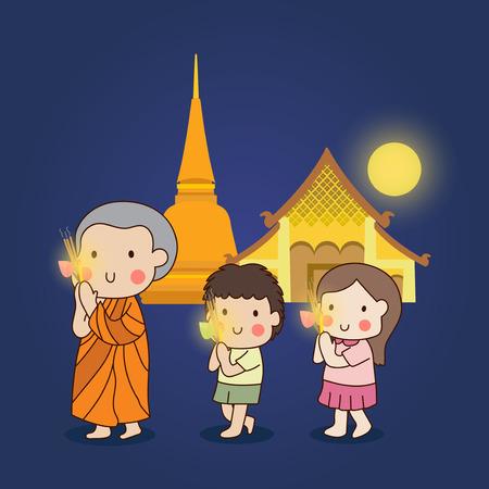 Boeddhistische lopen met brandende kaarsen in de hand rond een tempel om respect te betalen aan de Triple Toevluchten (Boeddha, Dhamma, Sangha) vector illustratie.