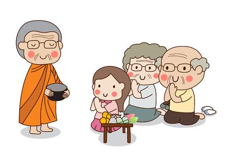 Boeddhistische monnik die aalmoes kom in zijn handen om voedsel aanbod ontvangen van vergadering meisje en oudere echtpaar zit.