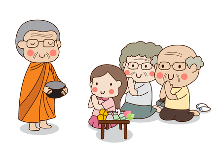 Buddhist monk holding alms bowl in his hands to receive food offering from sitting girl and sitting elderly couple. Иллюстрация