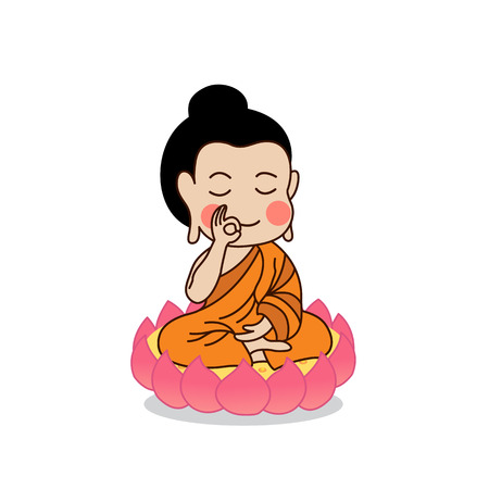 hand raising: Buddha sitting on lotus with the right hand raising  illustration. Isolated on white background.