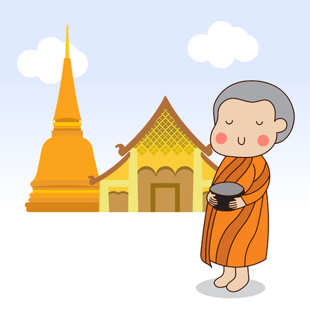 novice: Closing eyes Buddhist novice holding silver buddhist alms bowl in his hand to receive food offering illustration. Illustration