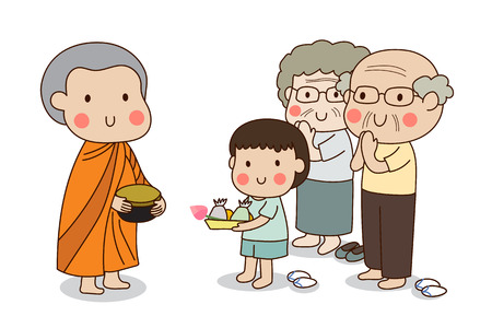 Buddhist novice holding alms bowl in his hands to receive food offering from standing boy and standing elderly couple.