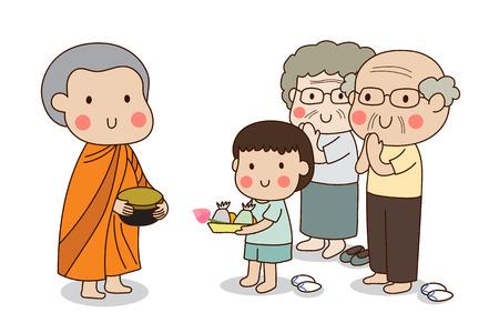 novices tenant aumônes bouddhistes bol dans ses mains pour recevoir l'offre de nourriture de garçon debout et debout couple de personnes âgées. Vecteurs