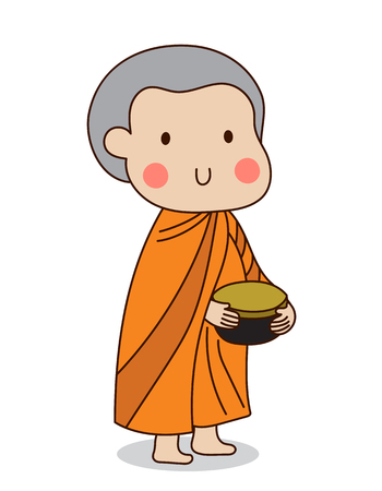 alms: Buddhist novice holding silver buddhist alms bowl in his hand to receive food offering illustration. Isolated on white background.
