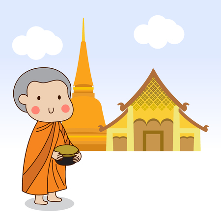 novice: Buddhist novice holding silver buddhist alms bowl in his hand to receive food offering  illustration.