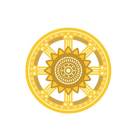 Dharma Wheel Dharmachakra Icon. Buddhism symbol. Isolated on white background. 矢量图像