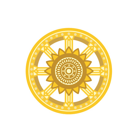 Dharma Wheel Dharmachakra Icon. Buddhism symbol. Isolated on white background. Illustration