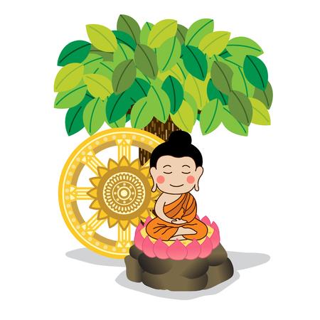 gautama buddha: Lord Buddha meditating under the tree with dhamma wheel illustration. Asalha Puja Day .