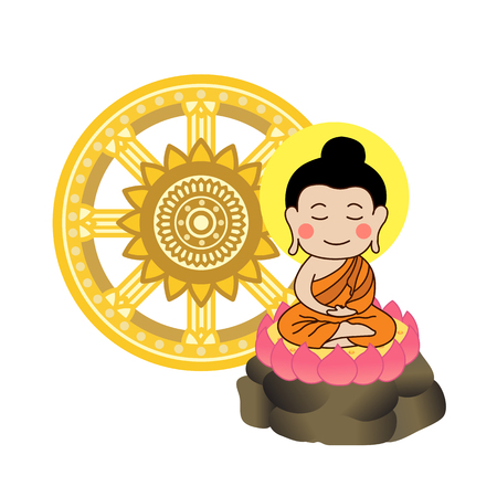Lord Buddha meditating in front of dhamma wheel illustration. Asalha Puja Day .