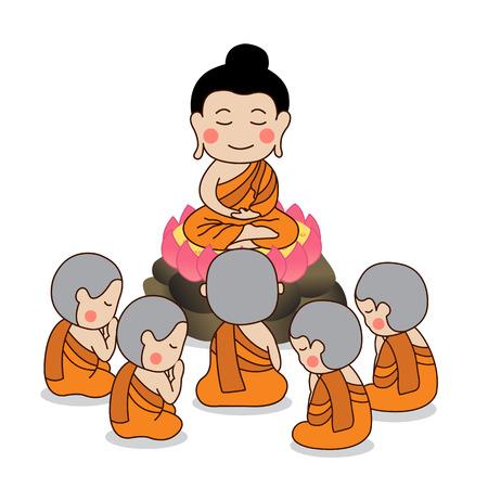 Prvotní kázání lorda Buddhy obklopené prvními pěti učedníky ilustrace Buddhy.