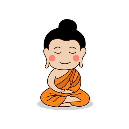 Lord Buddha enlightenment illustration. Isolated on white background. Çizim