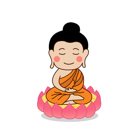 Lord Buddha enlightenment illustration. Isolated on white background. Illustration