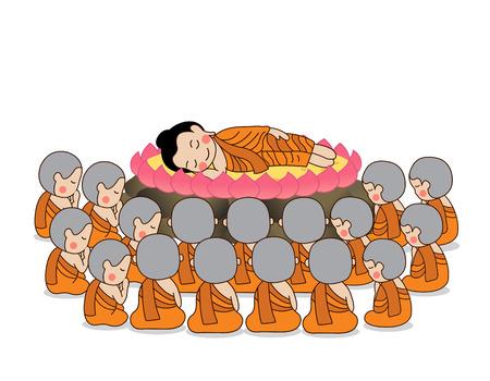 gautama buddha: Lord Buddhas nirvana illustration. Isolated on white background. Illustration