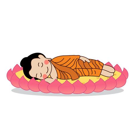 Lord Buddhas nirvana illustration.  Isolated on white background. Illustration