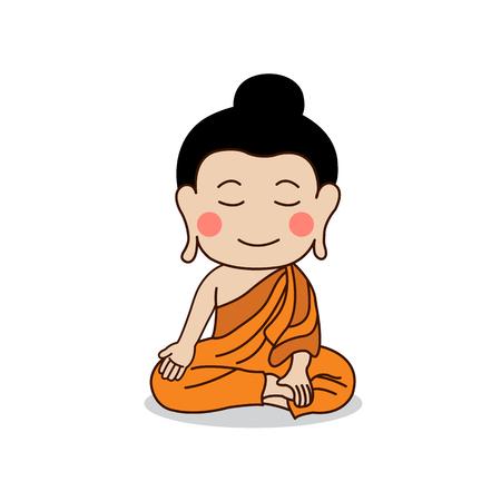 nirvana: Sitting Buddha place his hand on right knee illustration. Isolated on white background.