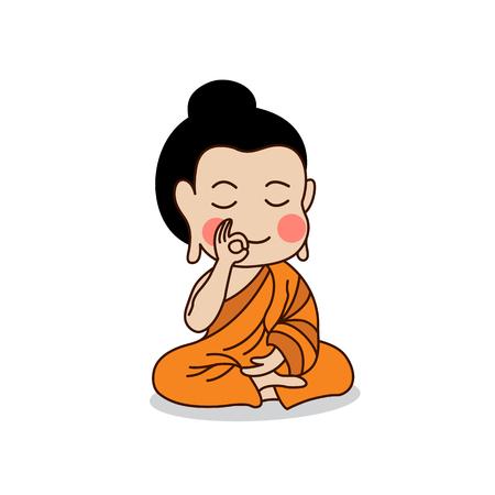 Sitting Buddha with the right hand raising illustration. Isolated on white background.