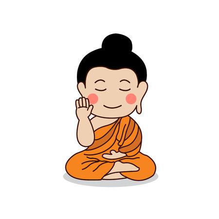 nirvana: Sitting Buddha with the right hand raising illustration. Isolated on white background.