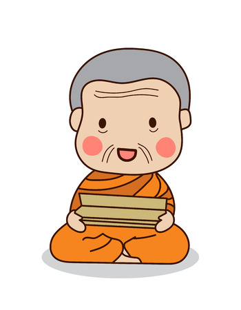 Buddhist monk reading scriptures illustration. Isolated on white background.