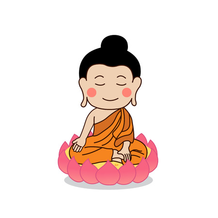 nirvana: Buddha sitting on lotus and placing his hand on right knee illustration. Isolated on white background.