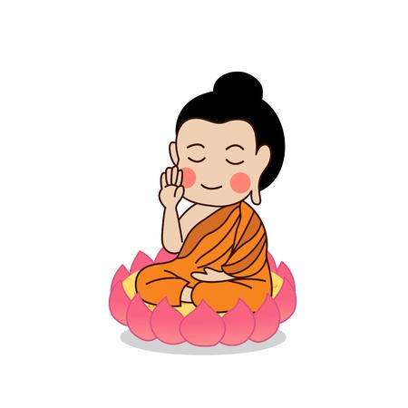 Buddha sitting on lotus with the right hand raising illustration. Isolated on white background.