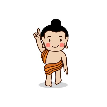 gautama buddha: Baby Buddha born illustration. Isolated on white background.