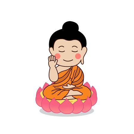 Buddha sitting on lotus with the right hand raising illustration. Isolated on white background. Illustration
