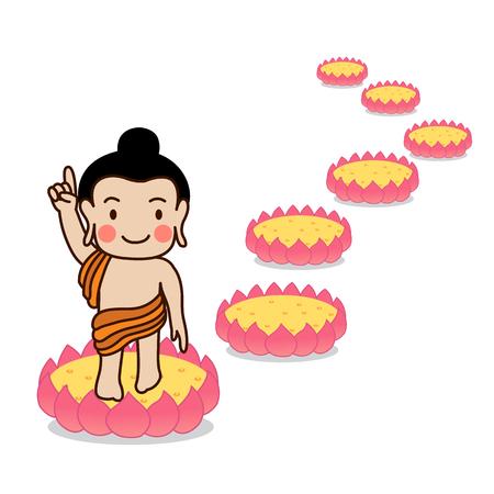 Baby Buddha born with seven lotus illustration. Isolated on white background.