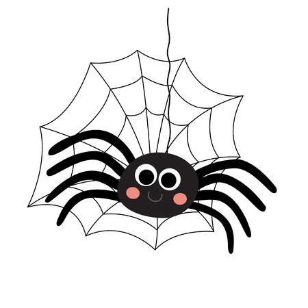 Black Spider with spider web animal cartoon character. Isolated on white background. illustration.