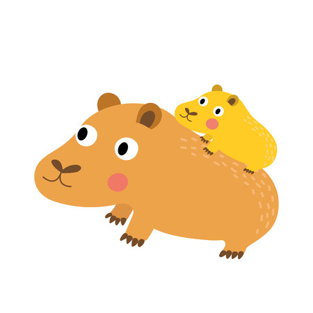 guinea pig: Capybara mother and child animal cartoon character. Isolated on white background. illustration.