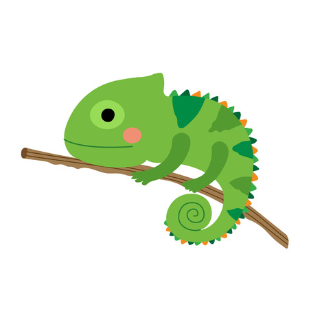 Chameleon climbing on branch animal cartoon character. Isolated on white background. illustration.