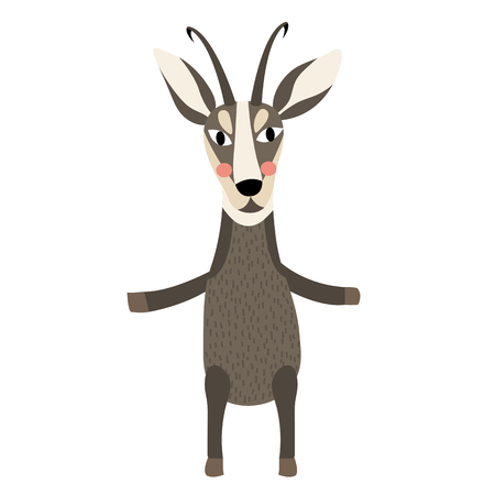 hairy legs: Chamois standing on two legs animal cartoon character. Isolated on white background. illustration.
