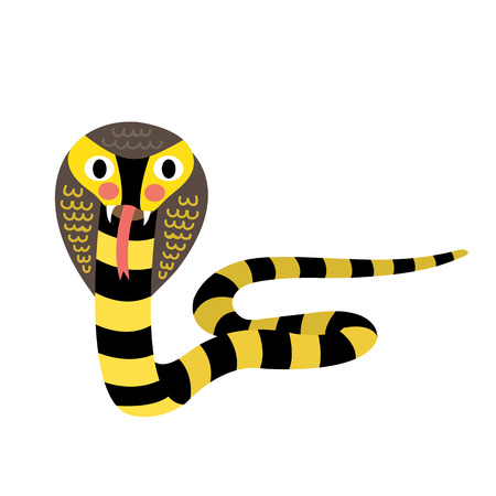 Black and Yellow Cobra snake animal cartoon character. Isolated on white background. illustration.