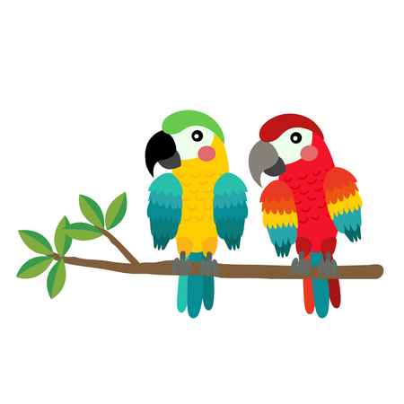 Colorful Parrot bird perching on the branch animal cartoon character. Isolated on white background. illustration.
