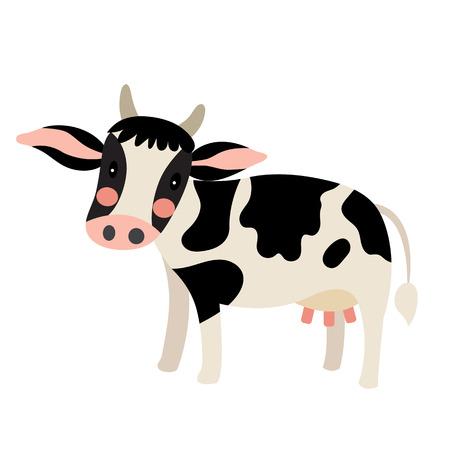 Happy Holstein Cow animal cartoon character. Isolated on white background. illustration. Illustration