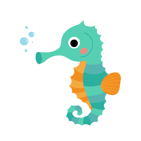 Cute Seahorse animal cartoon character. Isolated on white background. illustration.