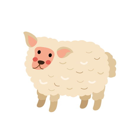 Cute standing Sheep animal cartoon character. Isolated on white background.  illustration.