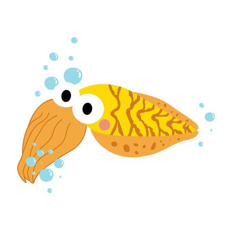 Yellow Cuttlefish animal cartoon character. Isolated on white background. illustration.