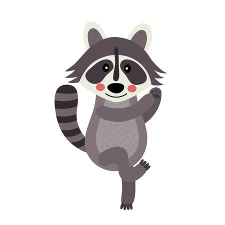 Dancing Raccoon animal cartoon character. Isolated on white background. illustration. Illustration