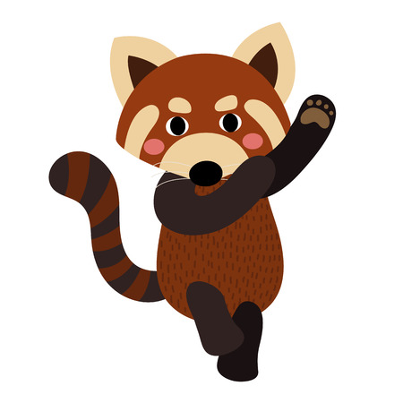 bearcat: Dancing Red Panda animal cartoon character. Isolated on white background. illustration.