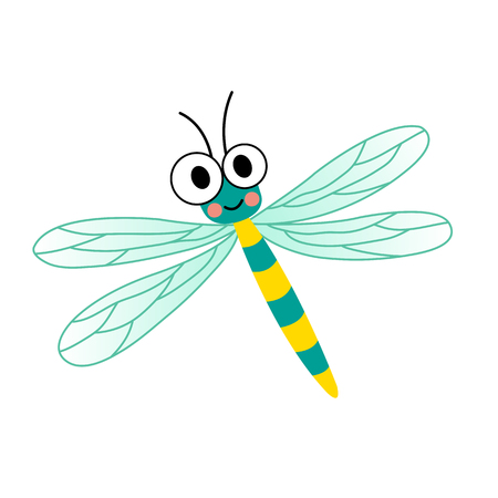 forewing: Dragonfly insect animal cartoon character. Isolated on white background. illustration.