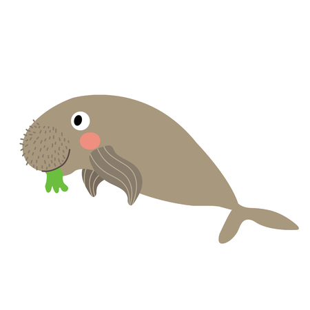 Dugong eating seagrass animal cartoon character. Isolated on white background. illustration. Illustration