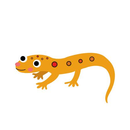 東赤の斑点のあるイモリ動物漫画のキャラクター。白い背景上に分離。イラスト。