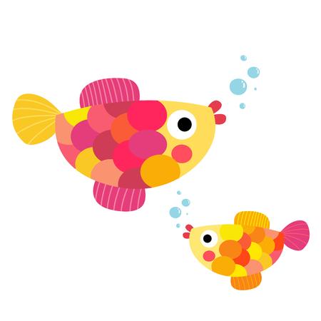 Colorful Fish swimming animal cartoon character. Isolated on white background. illustration. Illustration