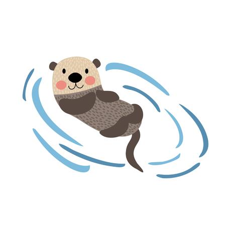 nutria caricatura: Flotante personaje de dibujos animados de la nutria animal. Aislado en el fondo blanco. ilustración.