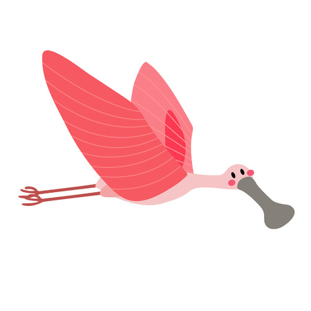 Flying Roseate Spoonbill bird animal cartoon character. Isolated on white background. illustration. Illustration