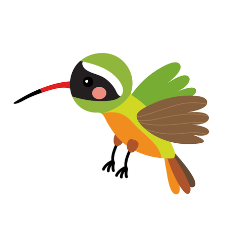 Flying Xantus Hummingbird animal cartoon character. Isolated on white background. illustration.