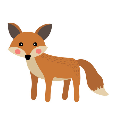 Standing Fox animal cartoon character. Isolated on white background. illustration.