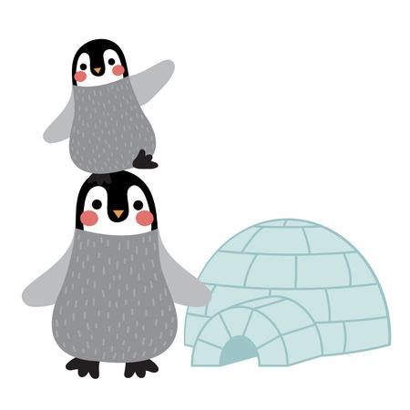 Funny Penguin and igloo animal cartoon character illustration. Illustration