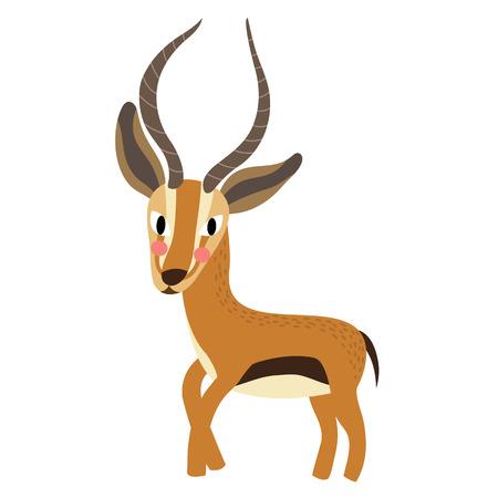 Standing Gazelle animal cartoon character. Isolated on white background.  illustration.