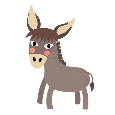 foal: Donkey animal cartoon character. Isolated on white background. illustration.